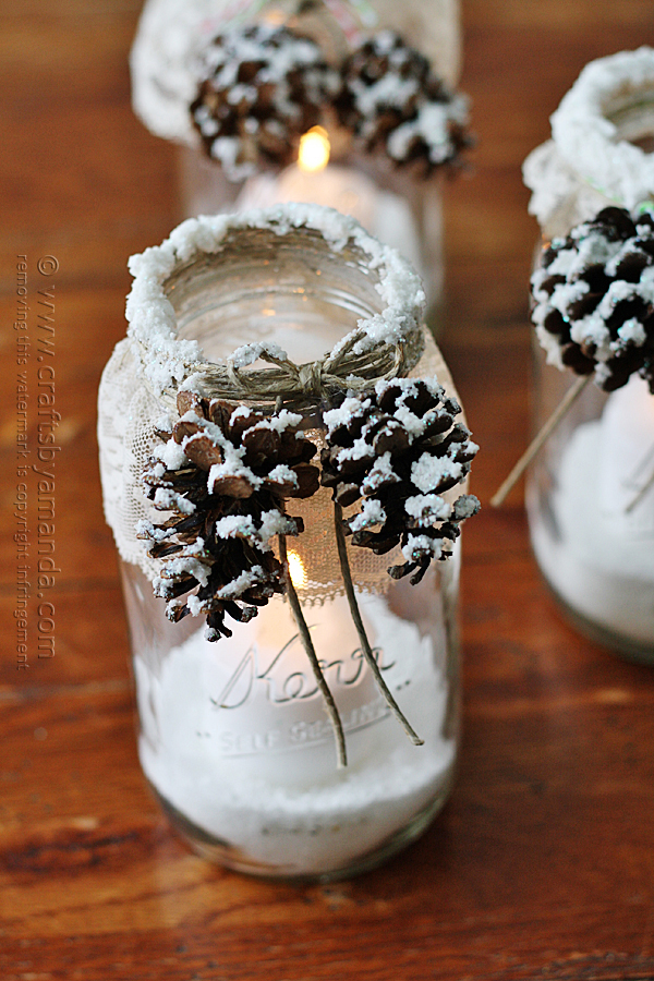 Snowy Pine cone Candle Jar