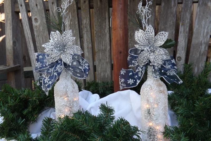 Wine Bottle Christmas Tree Diy.Snowy Wine Bottle Lights Cute Diy Projects