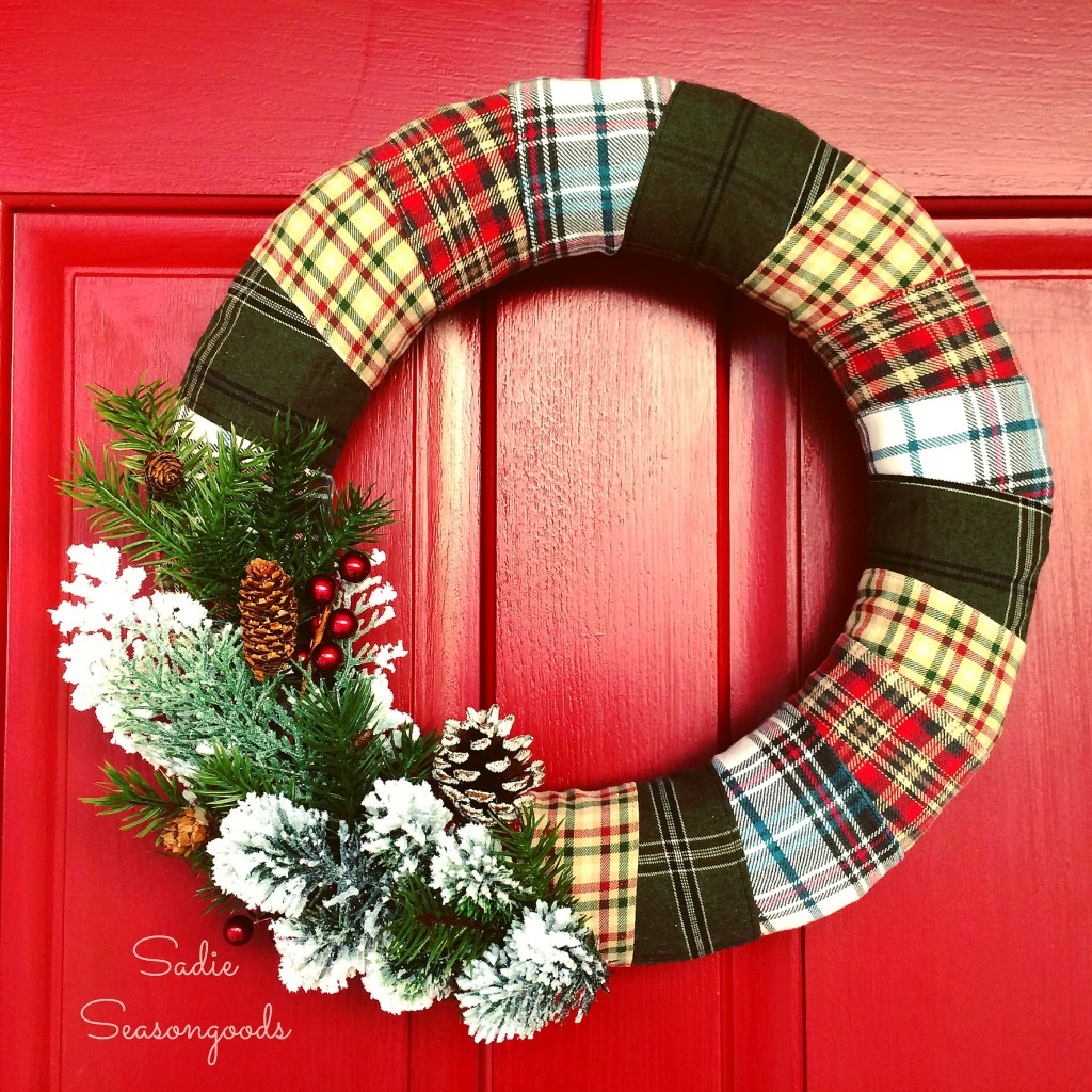 Wrapped Flannel Holiday Wreath