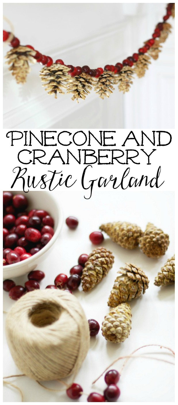 Bleached Pine Cone and Cranberry Garland