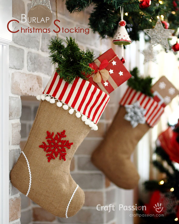 burlap christmas stockings - Burlap Christmas