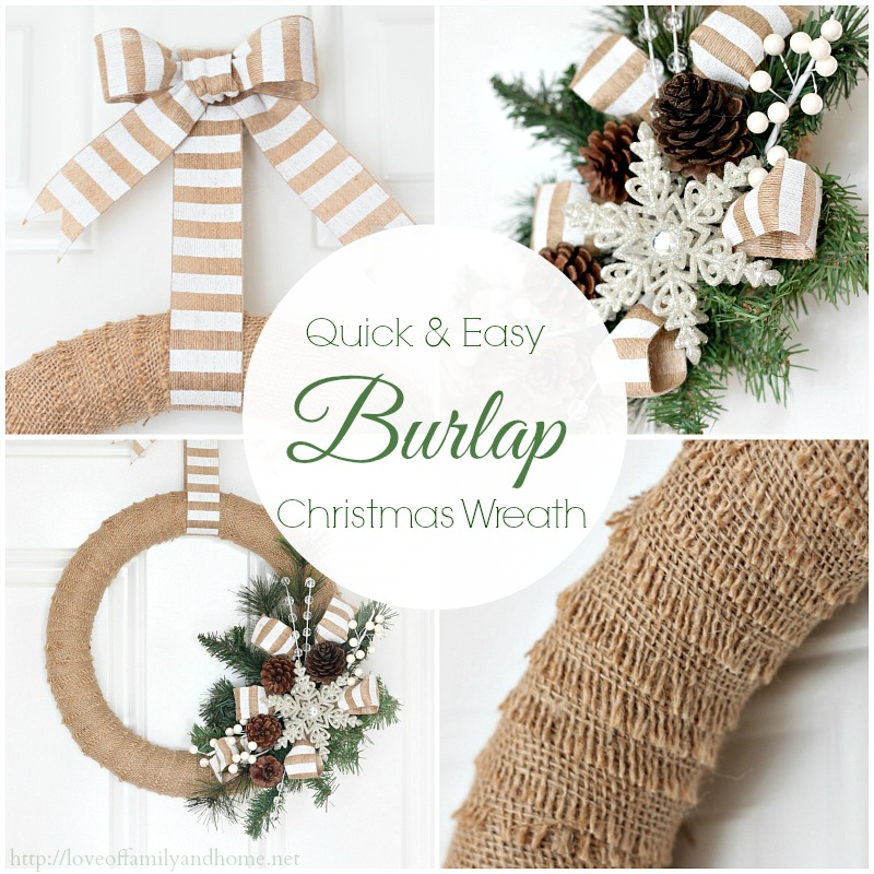 30 christmas burlap decorations embellishing your home for Burlap wreath with lights