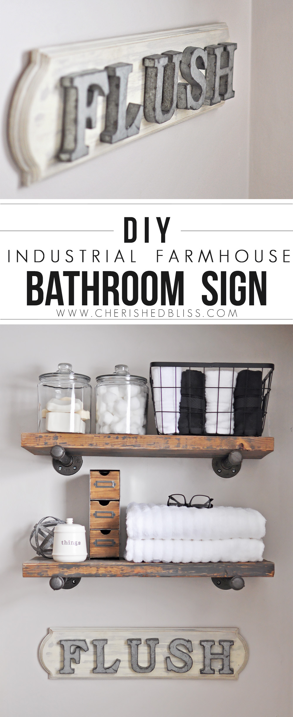 DIY Industrial Farmhouse Bathroom Sign