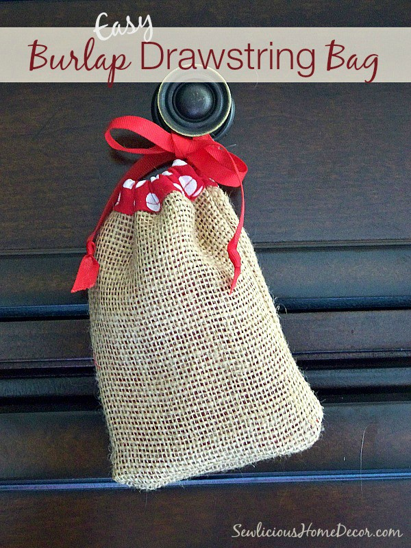 Easy Burlap Drawstring Bag