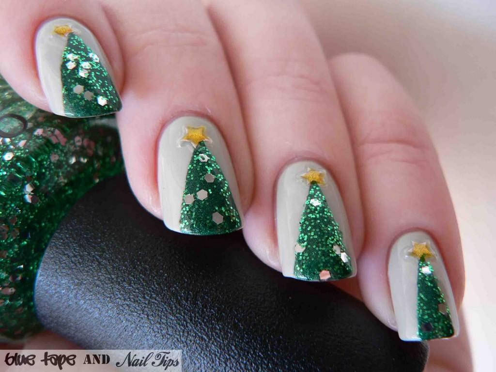 Easy Christmas Trees Nail Design