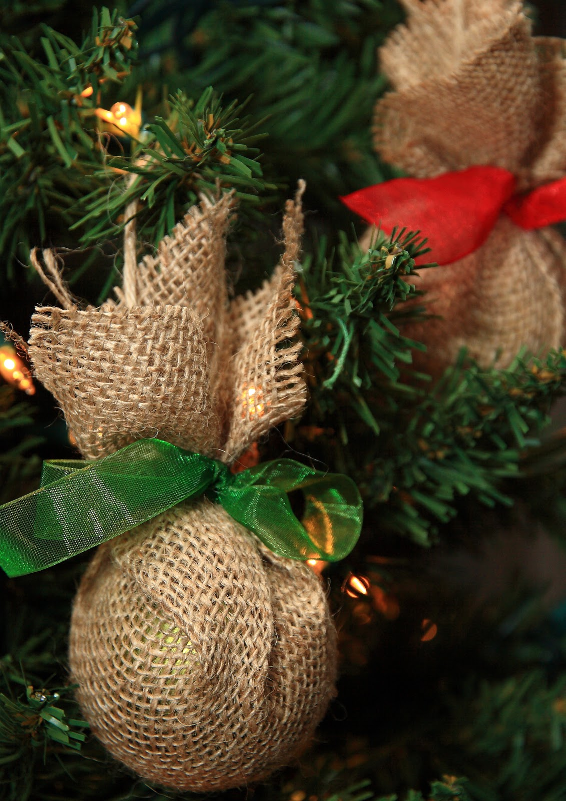 Burlap bird ornaments - Haul Out Holly Up Cycled Burlap