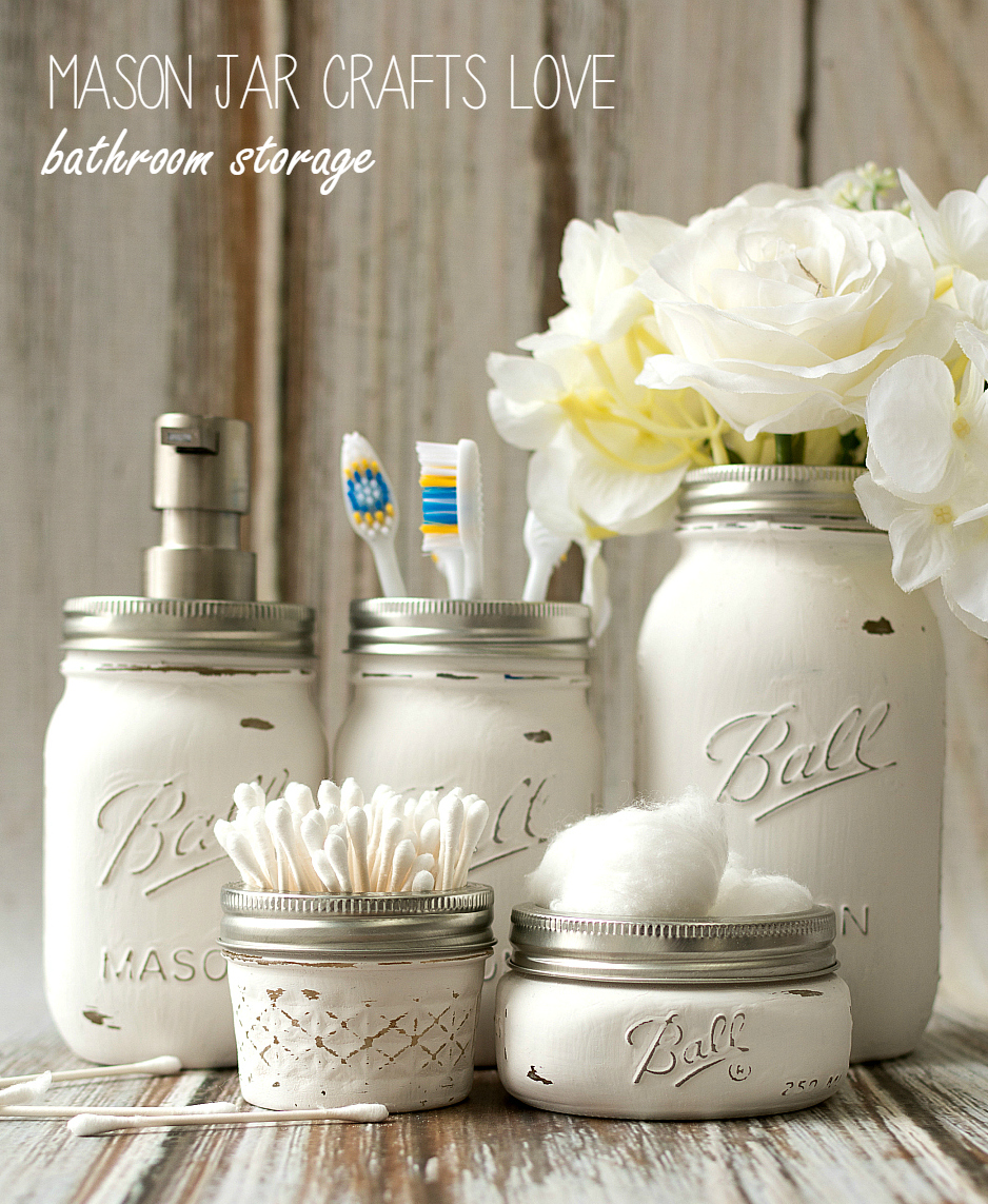 15 shabby chic bathroom ideas transforming your space from for Bathroom decor mason jars