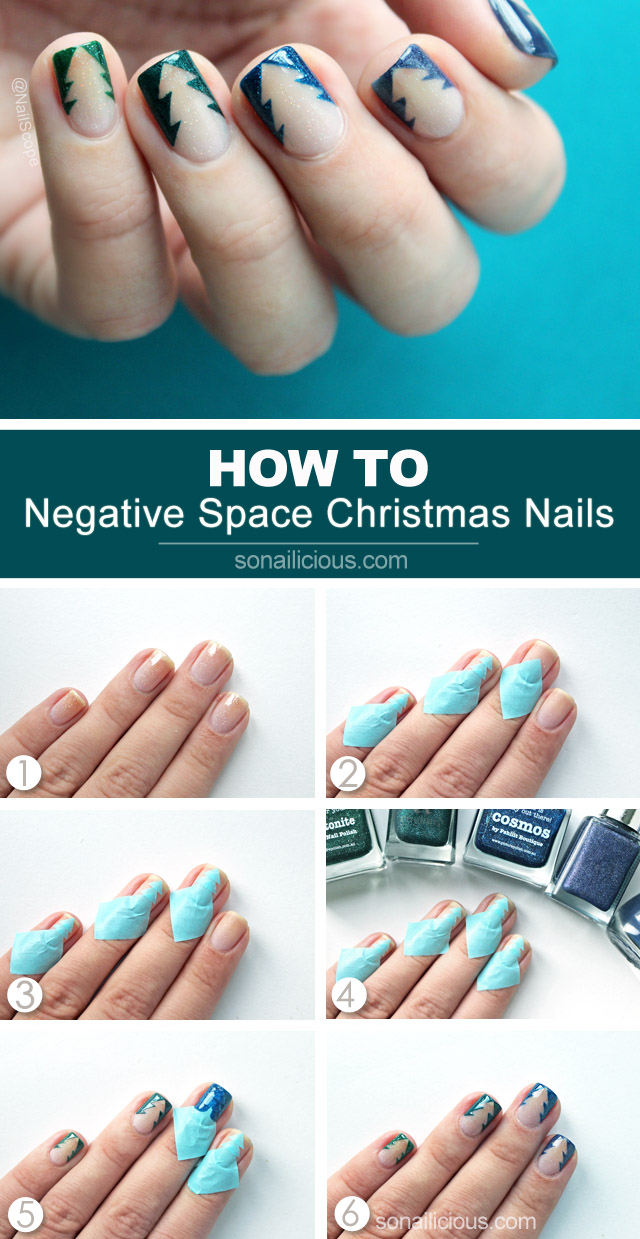 Negative Space Christmas Tree Nails Tutorial