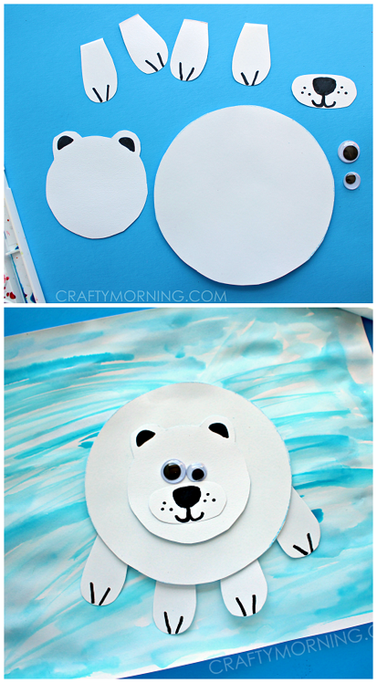 Paper Polar Bear Winter Craft For Kids