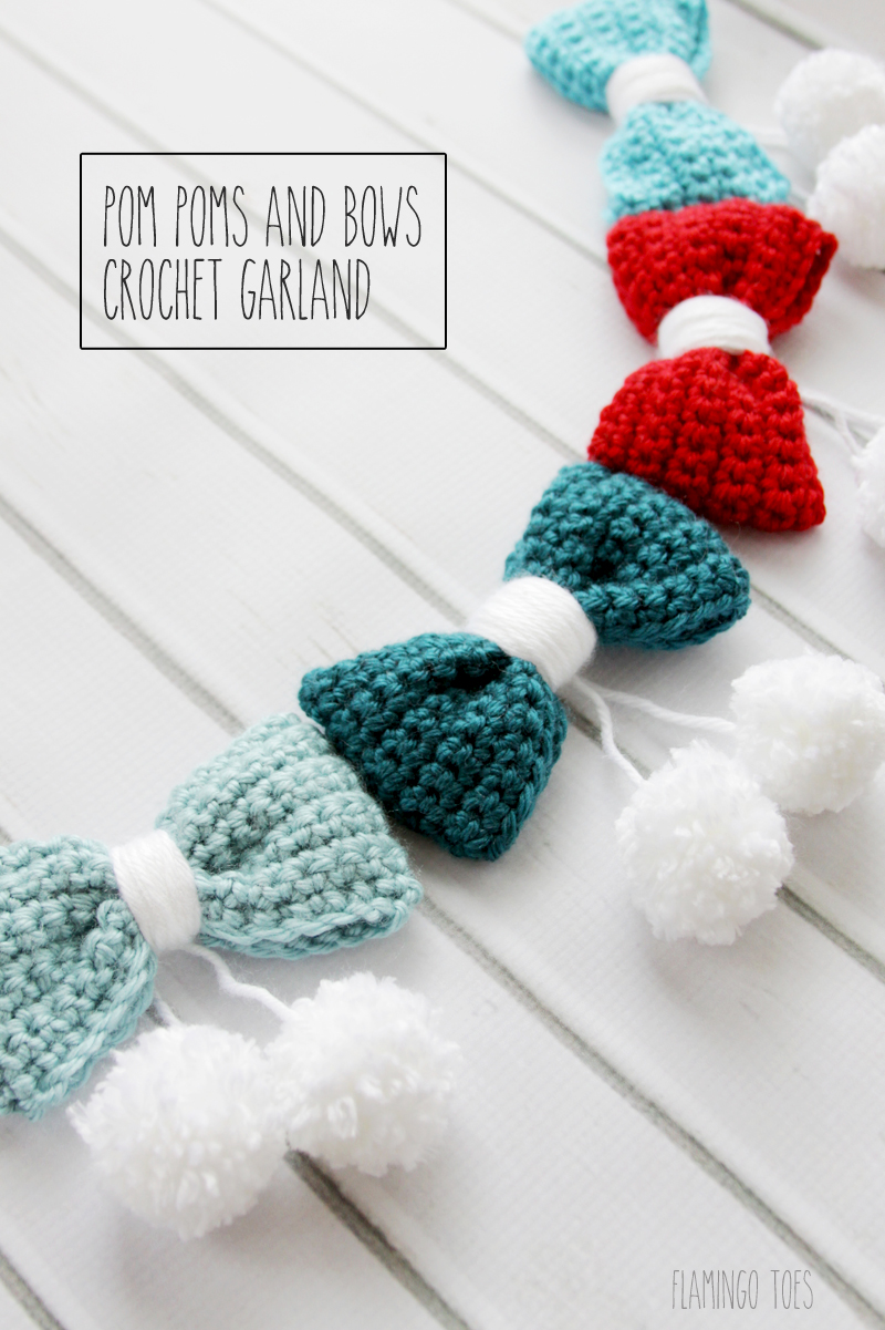 Pom Poms and Bows Crochet Garland