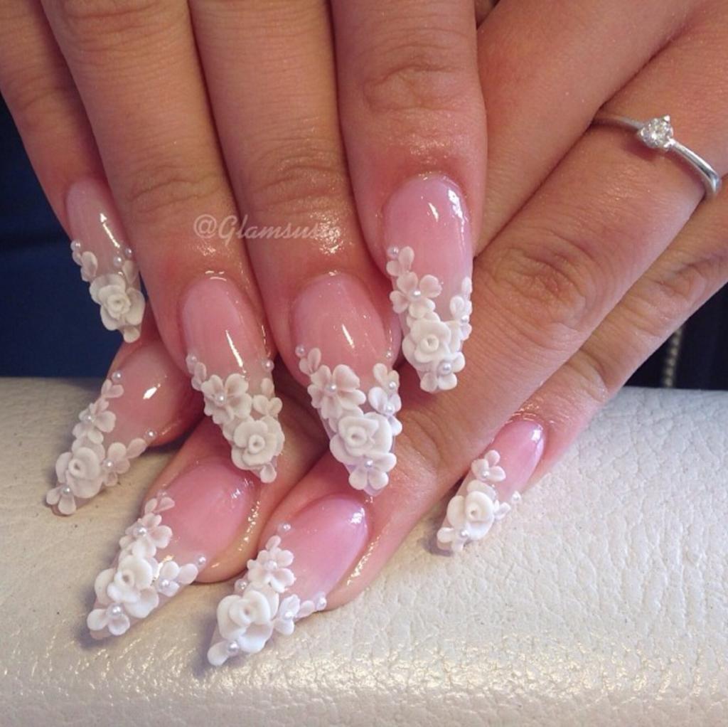 3D Floral Bridal Nails