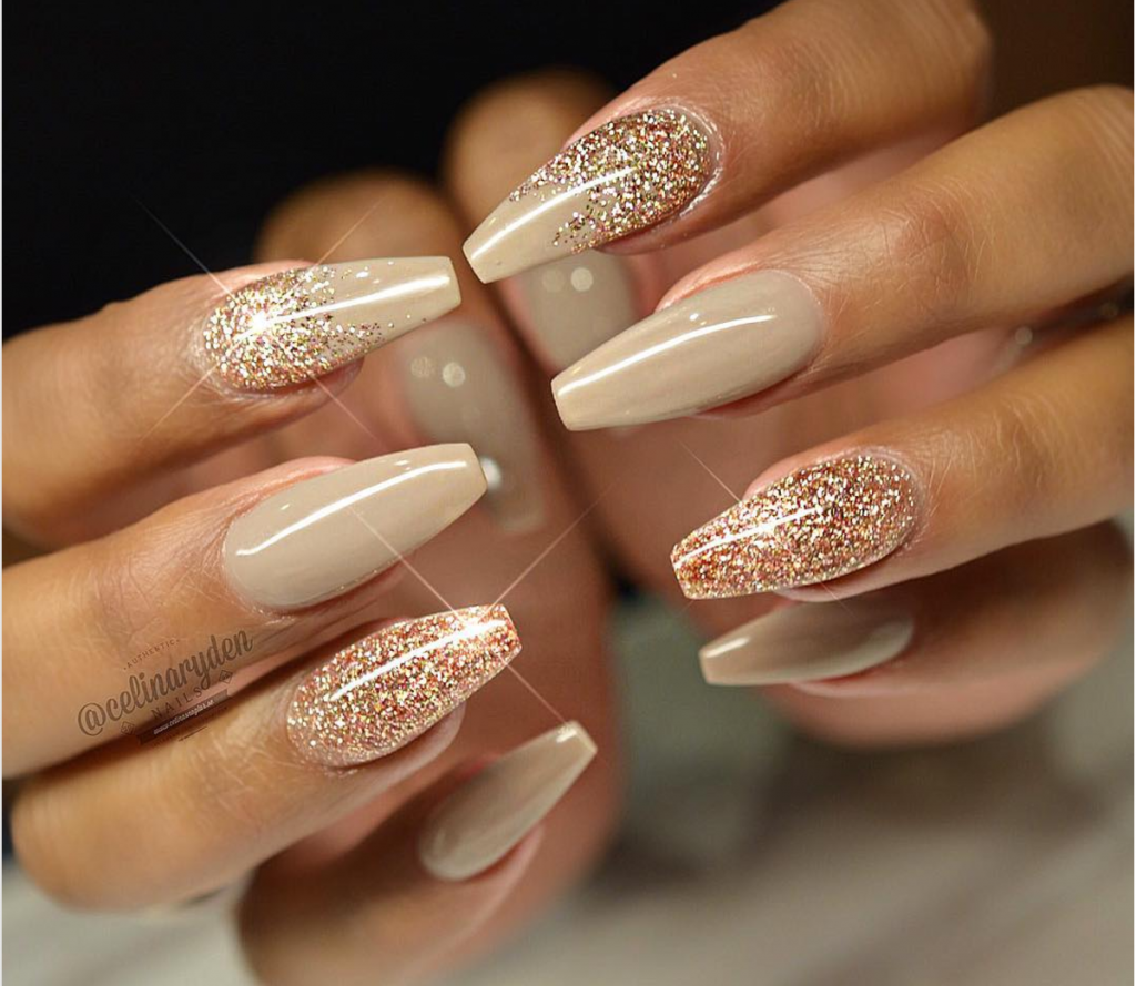 autumn glitter gel manicure - Gel Nail Design Ideas
