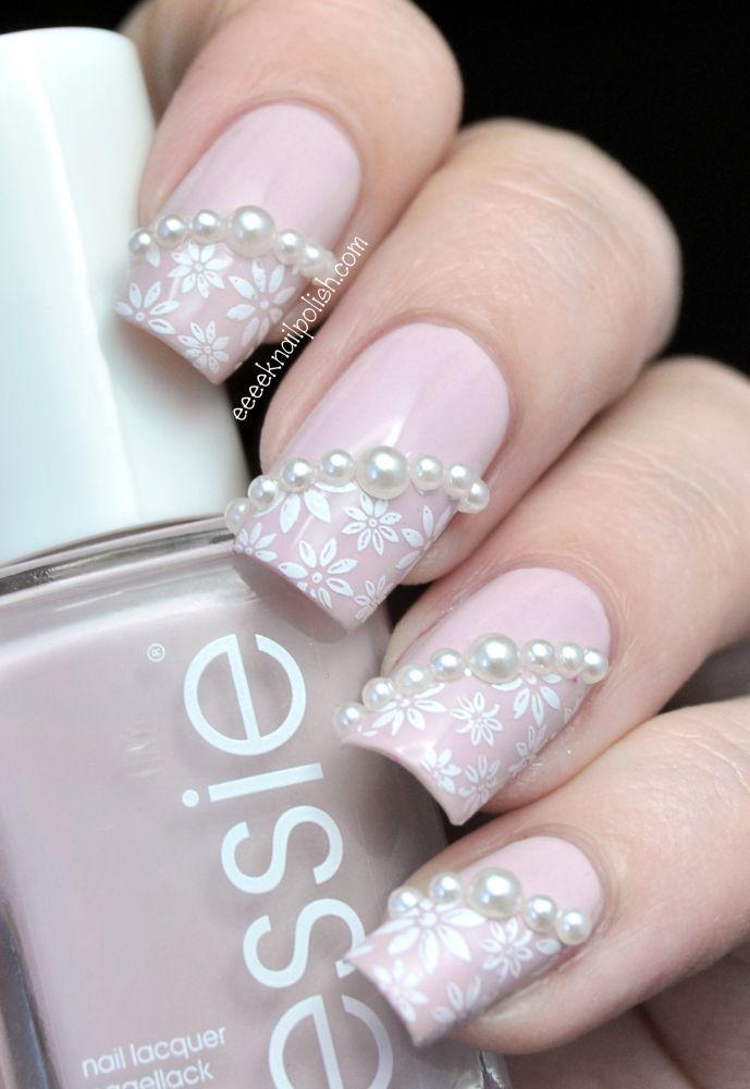 Beaded Stamped Wedding Nail Art