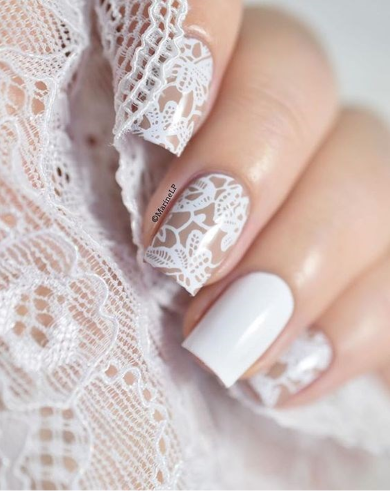 Compliment Your Dress With Lace Nails