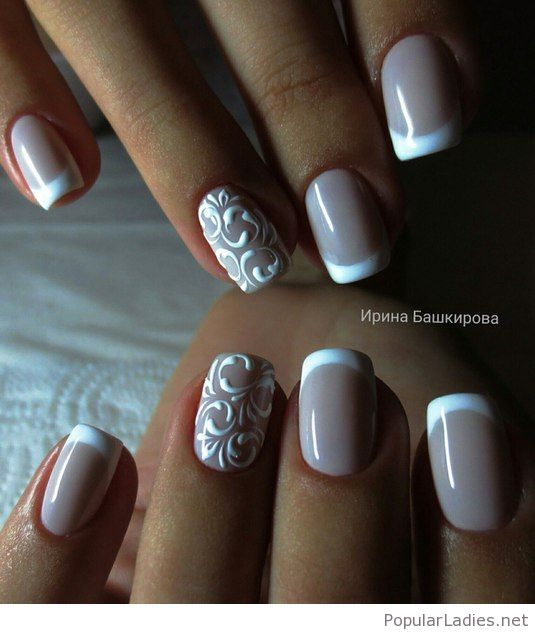 French Nail Art Design with Lace Details