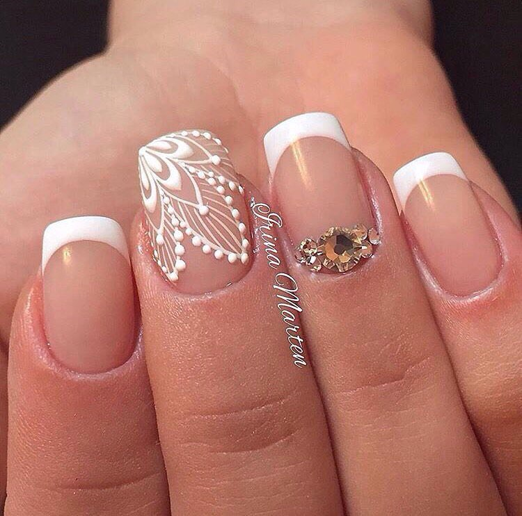 French Tips and Lacey 3D Pattern Wedding Nails