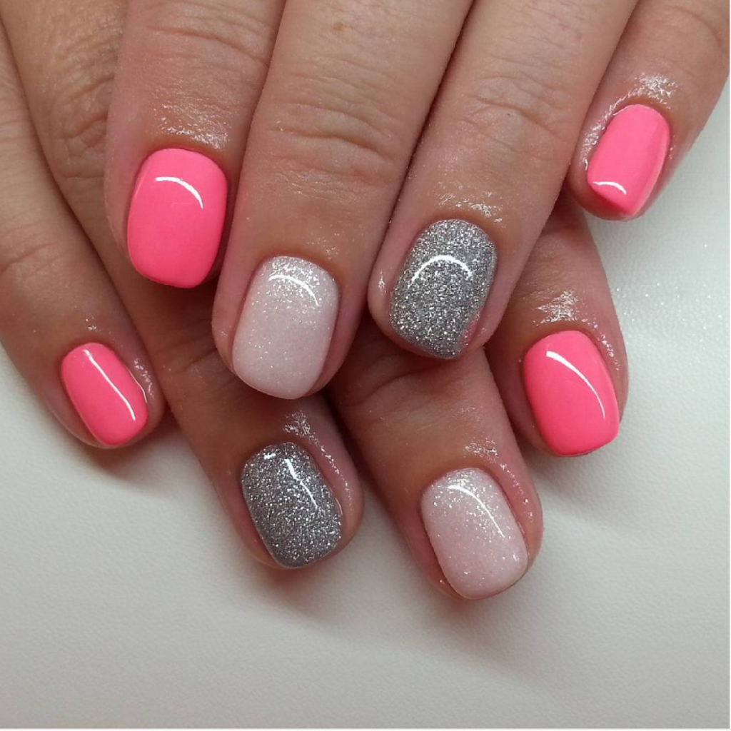 glitter and neon nails - Gel Nail Design Ideas