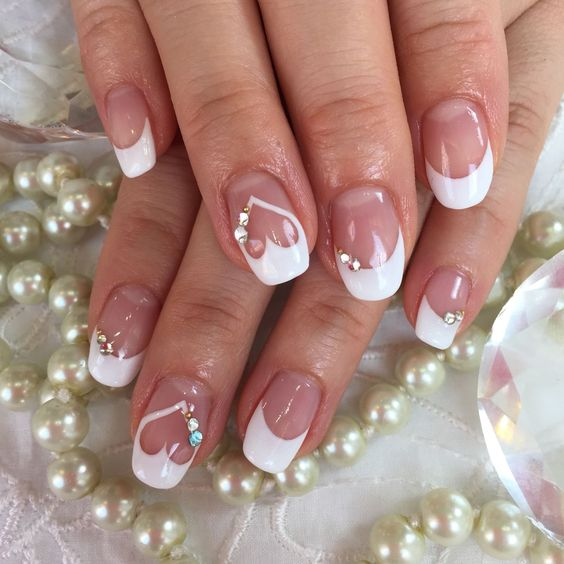 Gorgeous Heart Wedding Nail Art