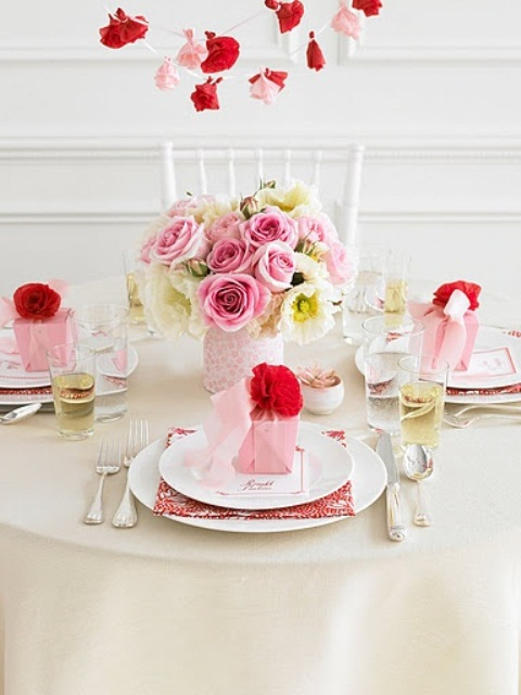 Gorgeous Pink and Red Roses Table Setting