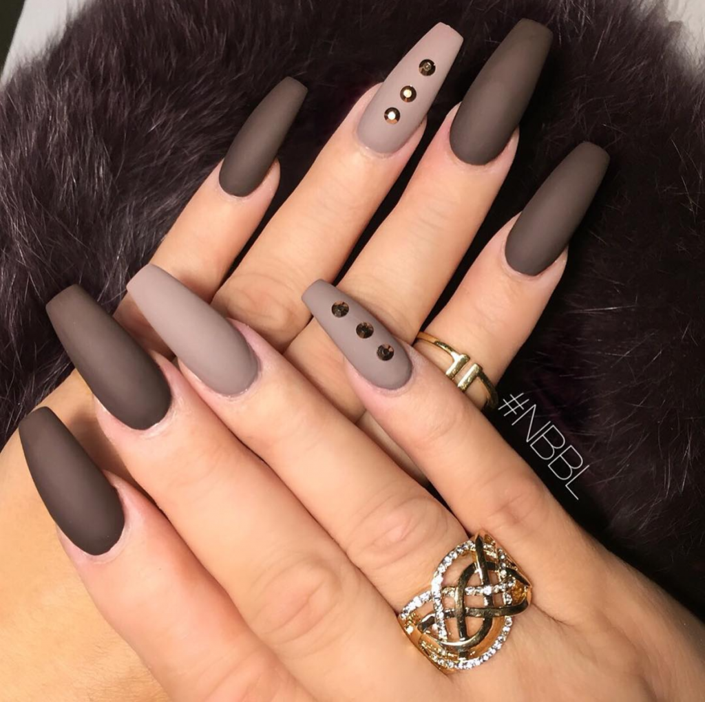 Matte Gel Nails With Cute Embellishments
