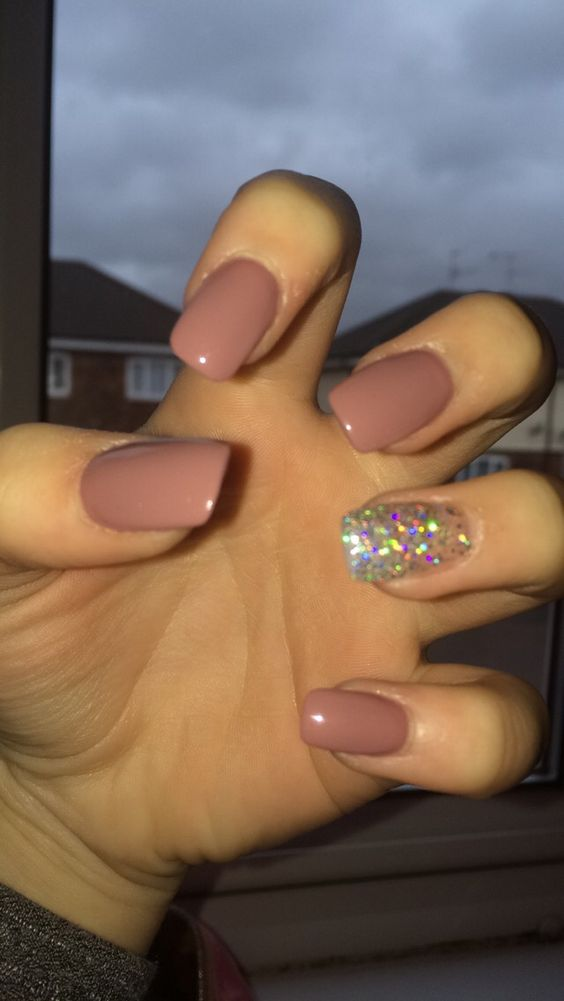 Nude and Silver Acrylic Nails