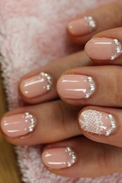 Pink, Pearly and Lacey Wedding Nails