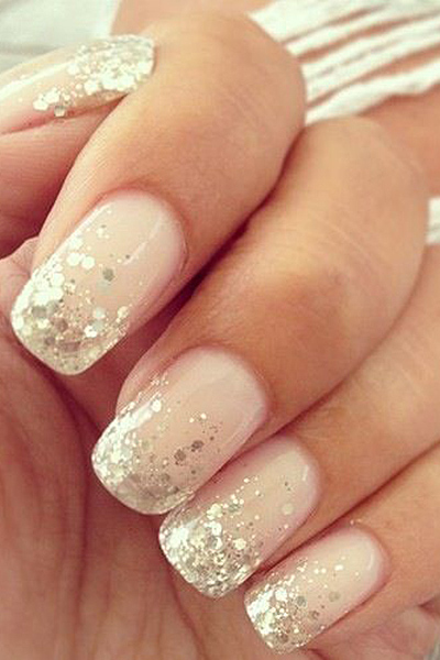 Shimmery Wedding Nails