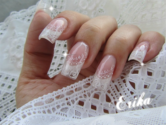 Square Wedding Nails With Detailed Florals