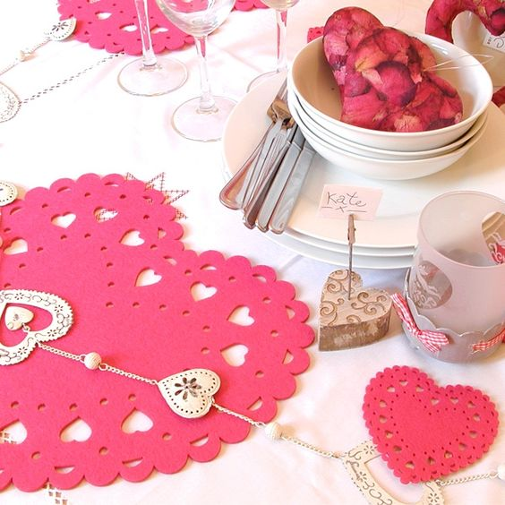 Valentine's Day Date Dine In Table : Heart Theme