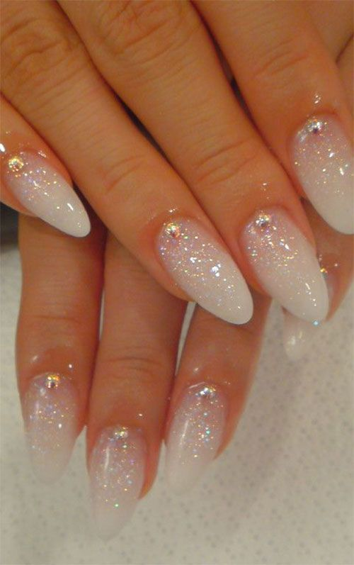 16 white glittery tips - Gel Nail Designs Ideas