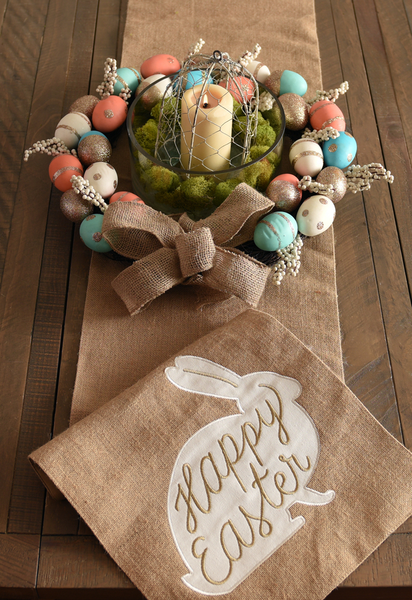 Candle and Eggs Burlap Centerpiece
