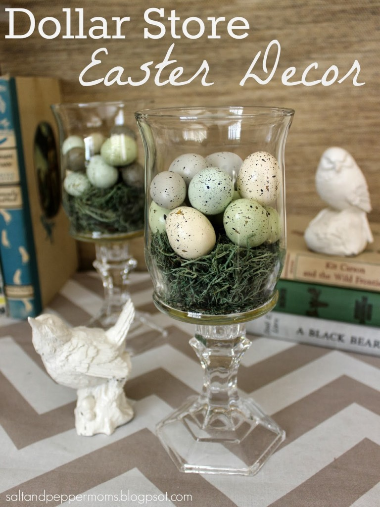 Easter Nest Hurricane Glasses with the White Bird Statues