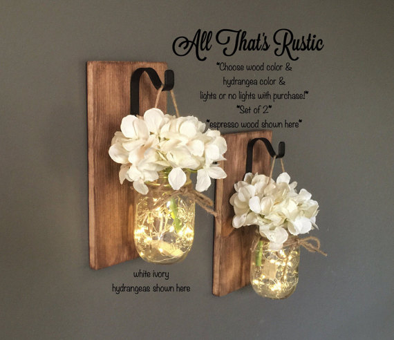 Hanging Mason Jar Sconces with Hydrangeas