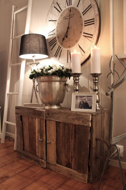 Large Rustic Clock and Decor Cabinet