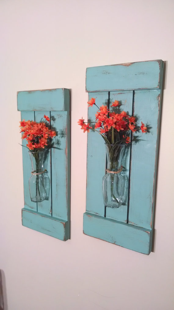 Large Rustic Sconces : Shutters with Vases