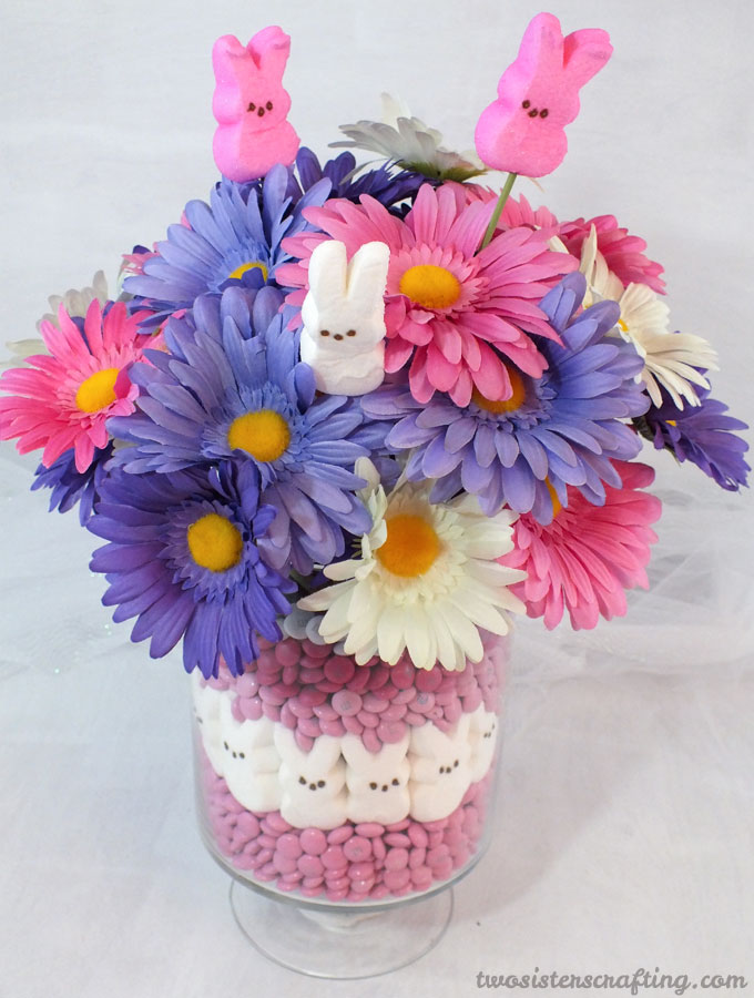 Marshmallow Peeps and M&M Easter Vase