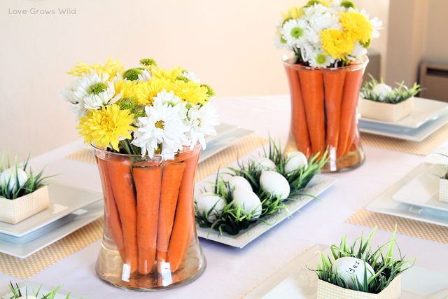 Spring-Inspired Easter Tablescape and Carrot Centerpieces
