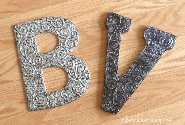 3D Antiqued Foil Letter