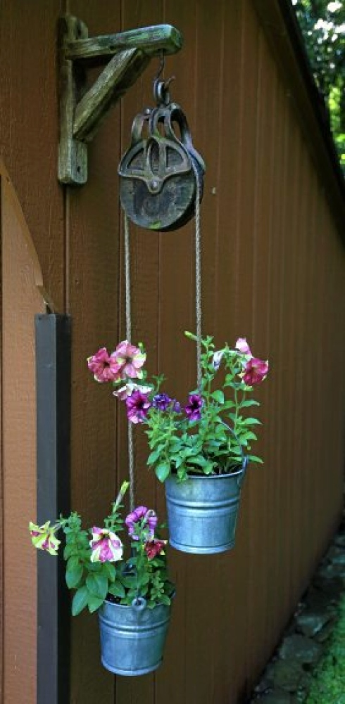 Bucket Planters with Pulley