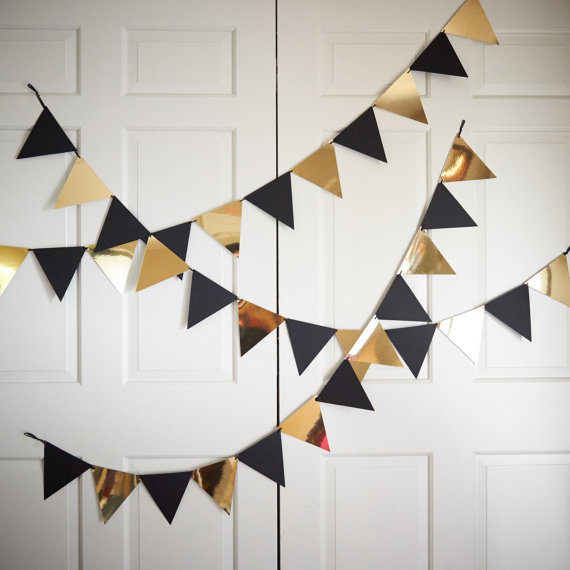 Bunting Banner for Black and Gold Party Decor