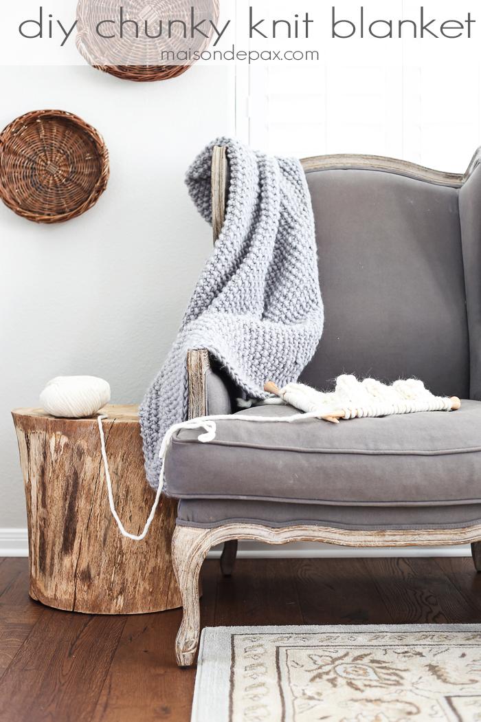 Chunky Gray Knit Blanket