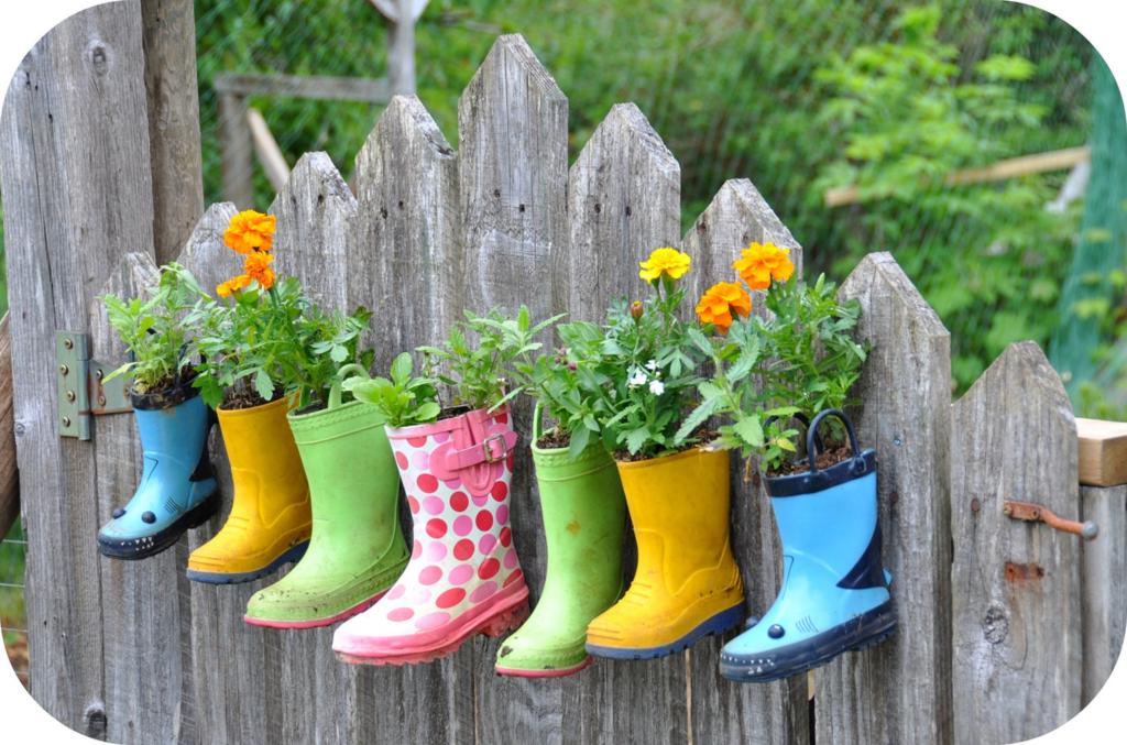 Cute Little Boots Vegetable Garden