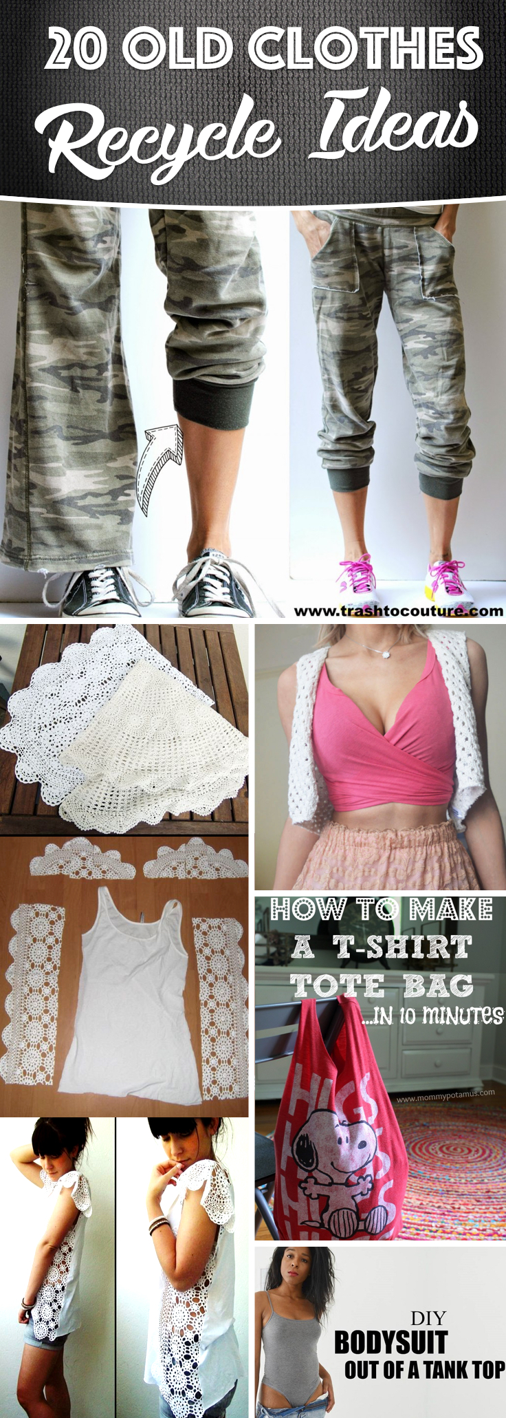 Find and save ideas about Recycle old clothes on Pinterest. | See more ideas about Recycled old clothes, DIY clothes old t shirts and Reuse old clothes.