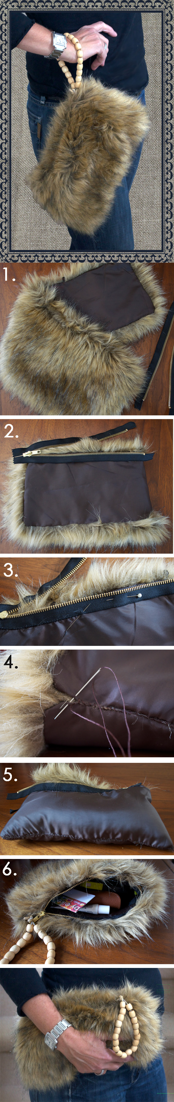Recycle Old Faux Fur Collar Into A Purse