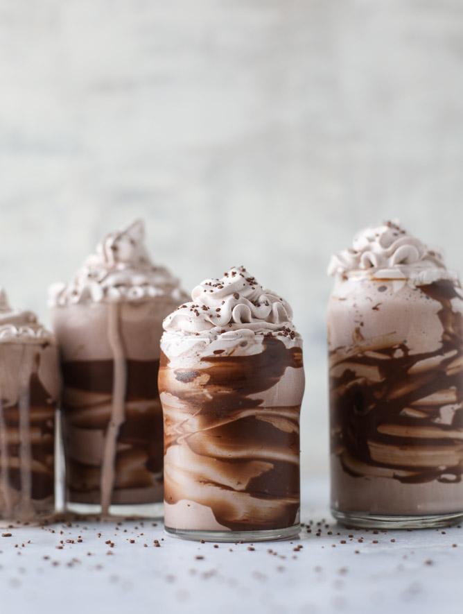 Chocolate Lovers Coconut Milkshakes with Sea Salt