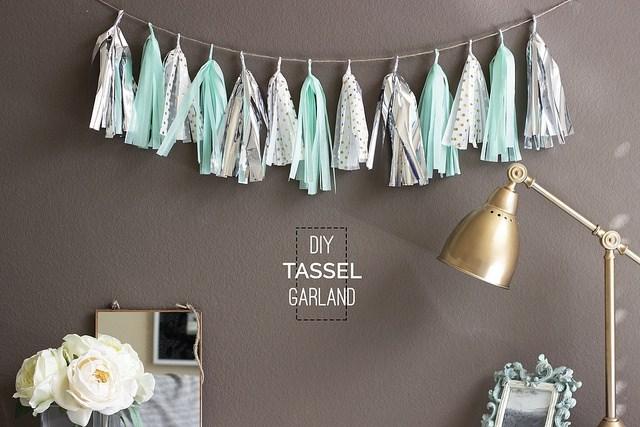 DIY Mint and Silver Tassel Garland