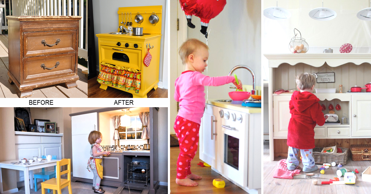 25 diy play kitchen ideas apt and appropriate for your for Play kitchen designs
