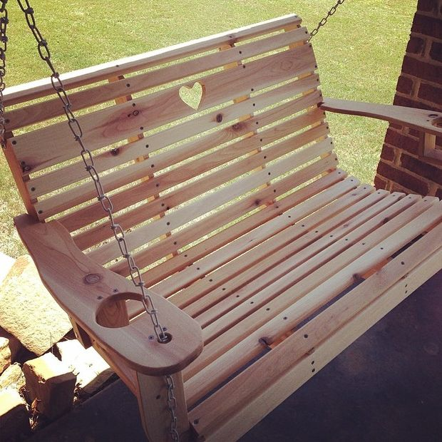 DIY Porch Swing with Heart