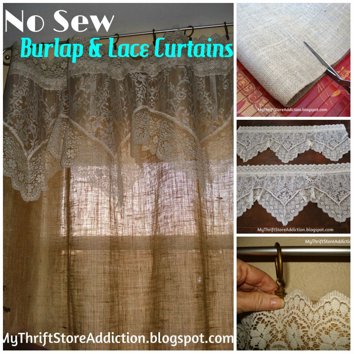 No Sew Burlap And Lace Curtains Cute Diy Projects