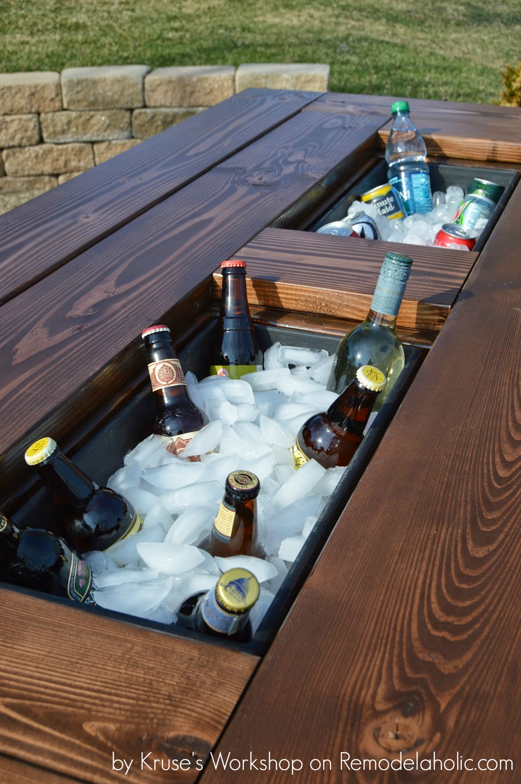Patio Table with Built-in Ice Boxes